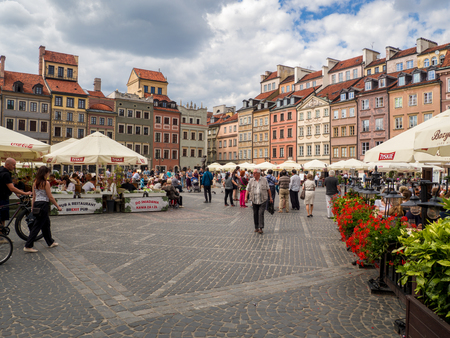 Warsaw, Poland - July, 2017: Main square of the old city in Warsaw