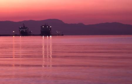 sunset, sunrise, ship photo
