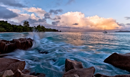 Beautiful seascape with blue sky and clouds photo