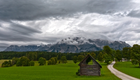 Landscape with a stormy sky and mountains photo