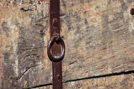 texture of an ol dwood wall with the door handle photo