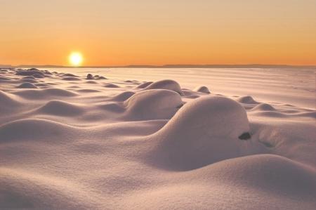 snowdrifts at sundown  beautiful shade from snowdrift Stock Photo