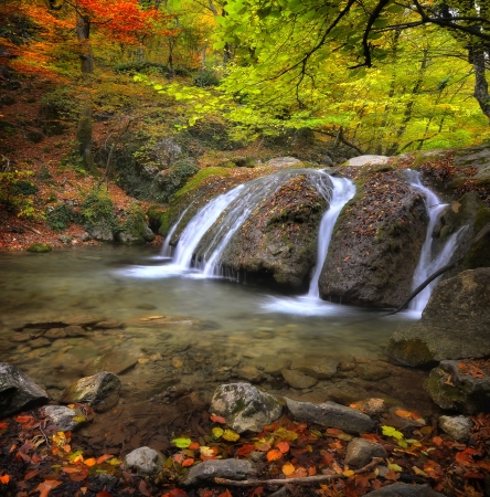 Waterfall in the autumn in the Crimea photo