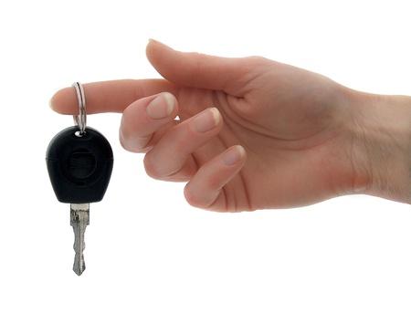 key of car hanging on forefinger  isolated Stock Photo - 16927543