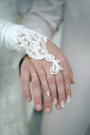 two hands with wedding ring Stock Photo - 16927660