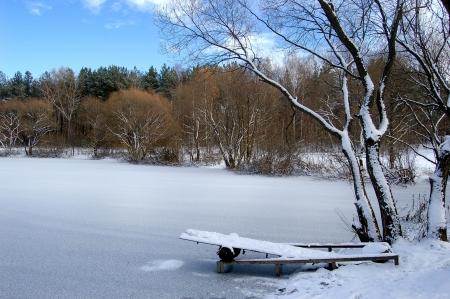 bridge under snow in the lake