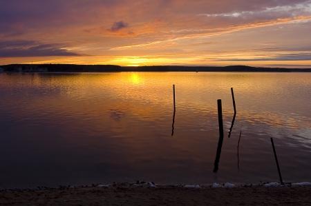 sundown at lake and gleam stick