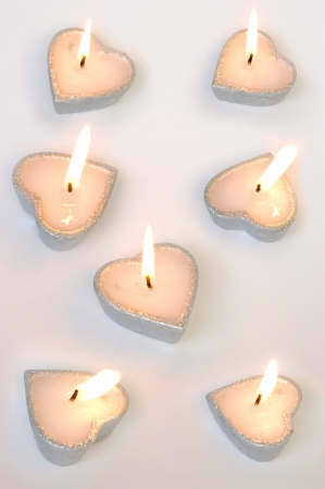 seven candles in form of heart