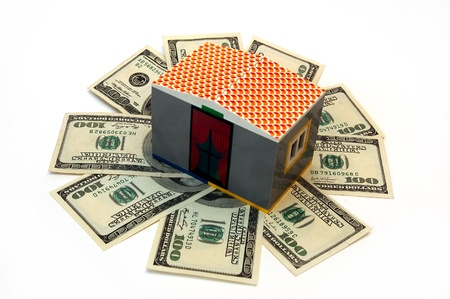 toy house on banknotes of dollar Stock Photo - 17043628