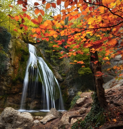 Waterfall in the autumn in the Crimea Stock Photo - 17050229