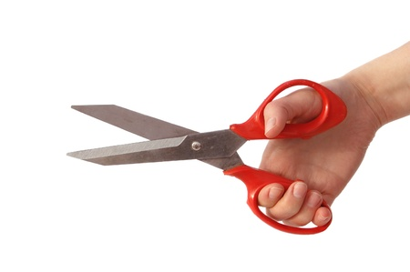arm holding red scissors  isolated Stock Photo - 17148698