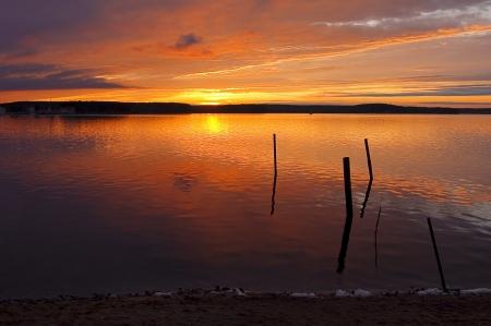 gleam: sundown at lake and gleam stick