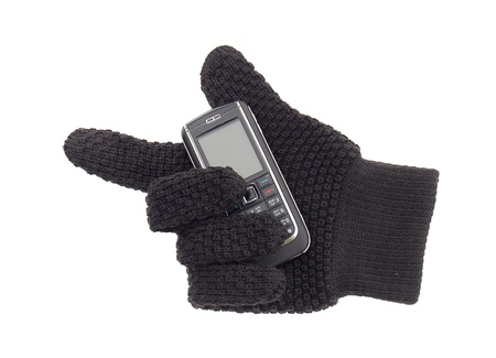glove with mobile phone  cutout Stock Photo - 17537090