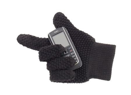 Handschuh mit Handy Ausschnitt Lizenzfreie Bilder