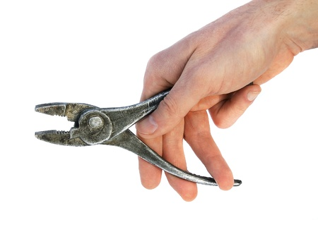 hand holding metallic pliers  isolated Stock Photo - 17537089