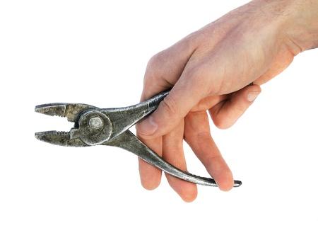 Hand metallic pliers isolated