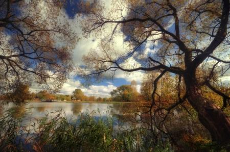 warmen Sommertag am malerischen Ufer des Sees und des Flusses Lizenzfreie Bilder