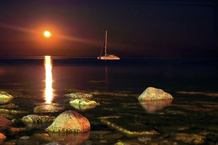 night landscape with yacht and moon Stock Photo