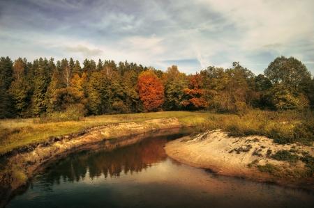 autumn trees near the river Stock Photo