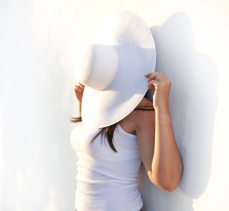 hot day: funny girl with hat