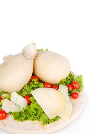 caciocavallo: italian cheese  Caciocavallo with tomatoes and salad