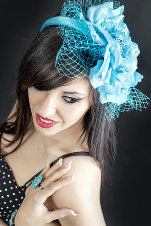 blu: beautiful glamour woman smiling with blu circlet in her hair Stock Photo