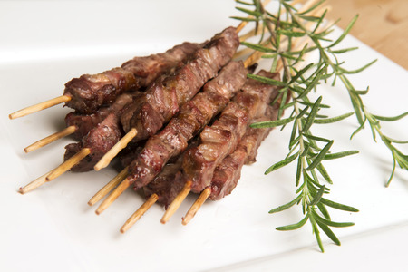 alimentation: Arrosticini, typical abruzzo food meat Stock Photo