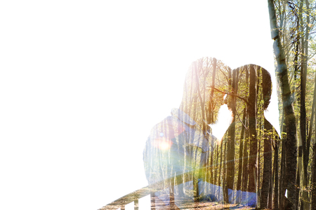 Portrait of a young couple with the effect of double exposure Stock Photo