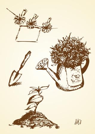 Hand drawn of gardening object Çizim