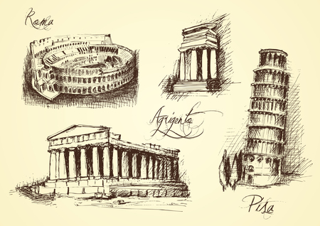 iconic architecture: Italian architectural symbols: colosseum in Rome, Pisa Tower, temple of Agrigento Illustration