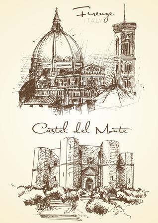 手描きのフィレンツェ、カステル ・ デル ・ モンテの 2 つのイタリアの都市
