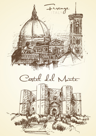 hand drawn of Florence and Castel del Monte two italian city Reklamní fotografie - 80396812