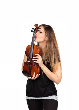 Funny beautiful woman holding her violin isolated Standard-Bild