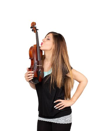 beautiful woman kissing her violin isolated Stock Photo