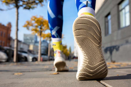 Close up shot of runners shoes. Healthy lifestyle and sport concept. Stock fotó