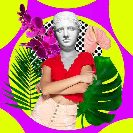 Contemporary art collage. Young woman headed of antique statue head isolated on multicolored neon background. Stockfoto