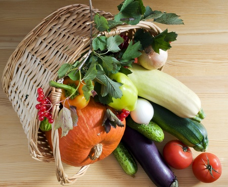 Fresh vegetables in a wicker basket Stock Photo