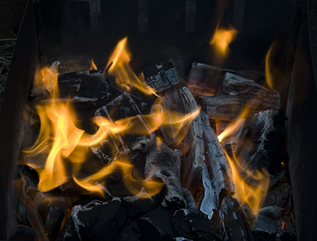 Hot coals in the grill
