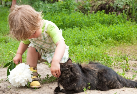 Cat and a child on beautiful summer day  Foto de archivo