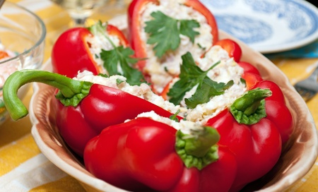 Salad served in a pepper halves   Stock Photo - 13454772