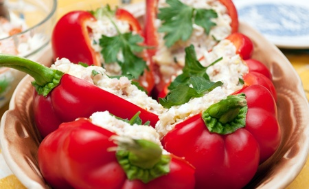 Salad served in a pepper halves Stock Photo - 13454773