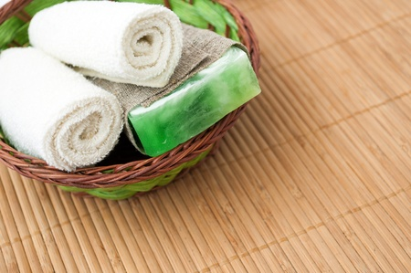 Spa setting with soap and towel.