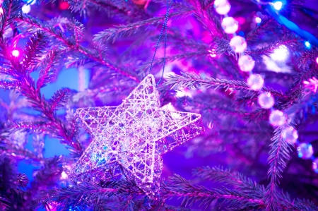 Closeup of Christmas-tree decorations Christmas decoration with shiny glare Christmas Tree Decorated Beautiful traditional christmas decorations on an illuminated xmas tree  photo