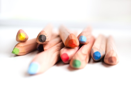 window sill: colored pencils on a window sill  Small depth of field Stock Photo