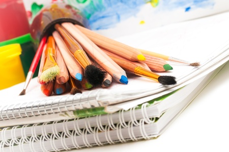 School stationery on the white close up