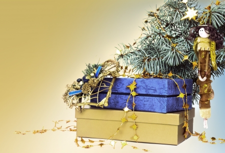 Gold and blue christmas decorations  Stock Photo - 16729861