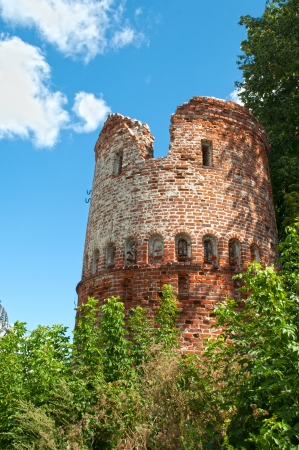 believers: Fragment of old fortress wall of the monastery with a tower near the Kazan Kremlin