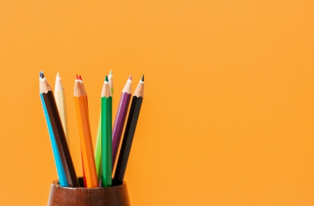 Creative Art Background made of colored pencils photo
