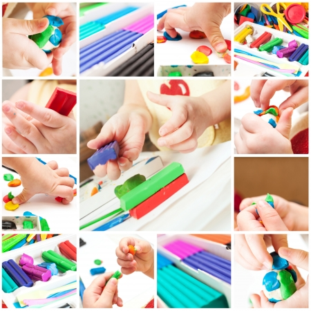 Children mold plasticine Stock Photo