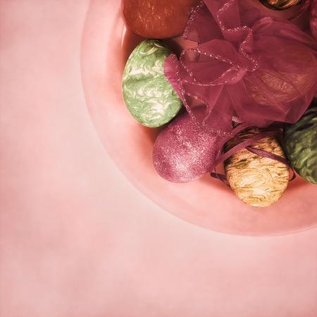 easter background: Vintage Easter background. Ester eggs on plate